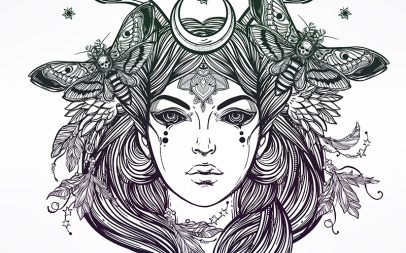 Female Banshee portriat illustration.